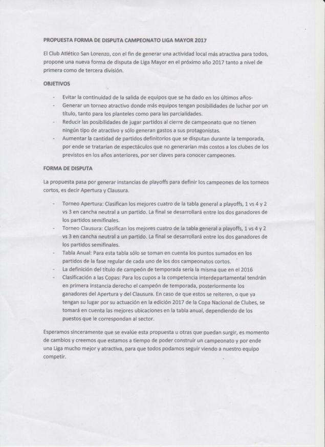 Este fue el Proyecto presentado por San Lorenzo.