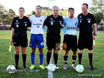 Oscar Araújo (central), Claudio Sacías (primer asistente) y Noemí Marcela Da Silva