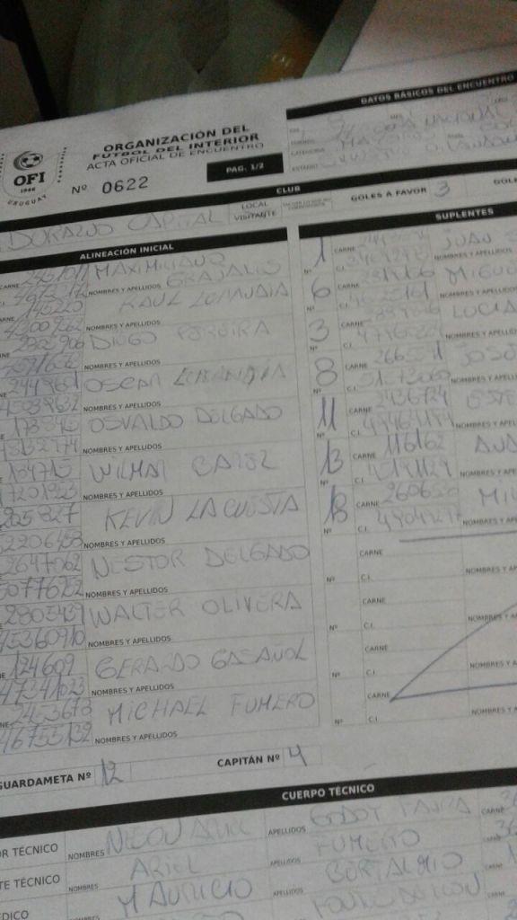El formulario del partido con Colonia