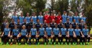 Sub 17 de Uruguay con Elizalde y Sanabria. Foto AUF